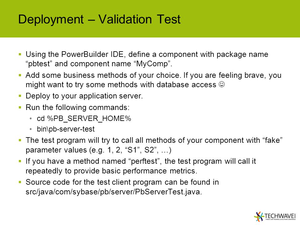 Deployment – Validation Test