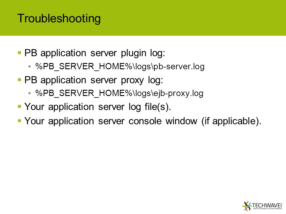 Troubleshooting PB application server plugin log: