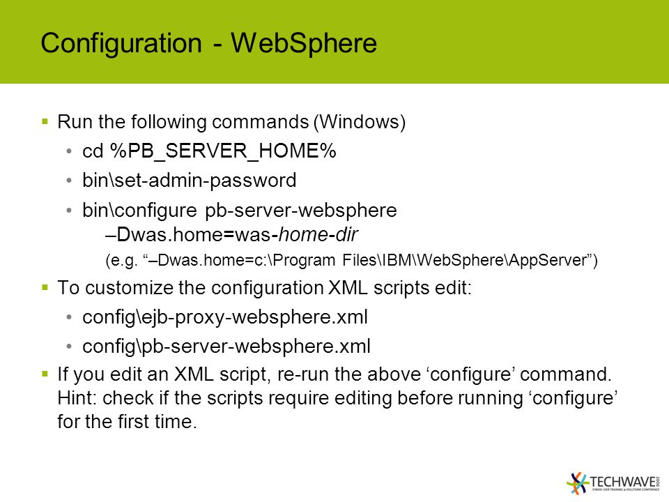 Configuration - WebSphere