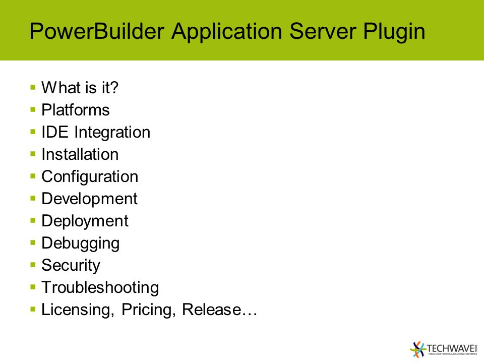 PowerBuilder Application Server Plugin