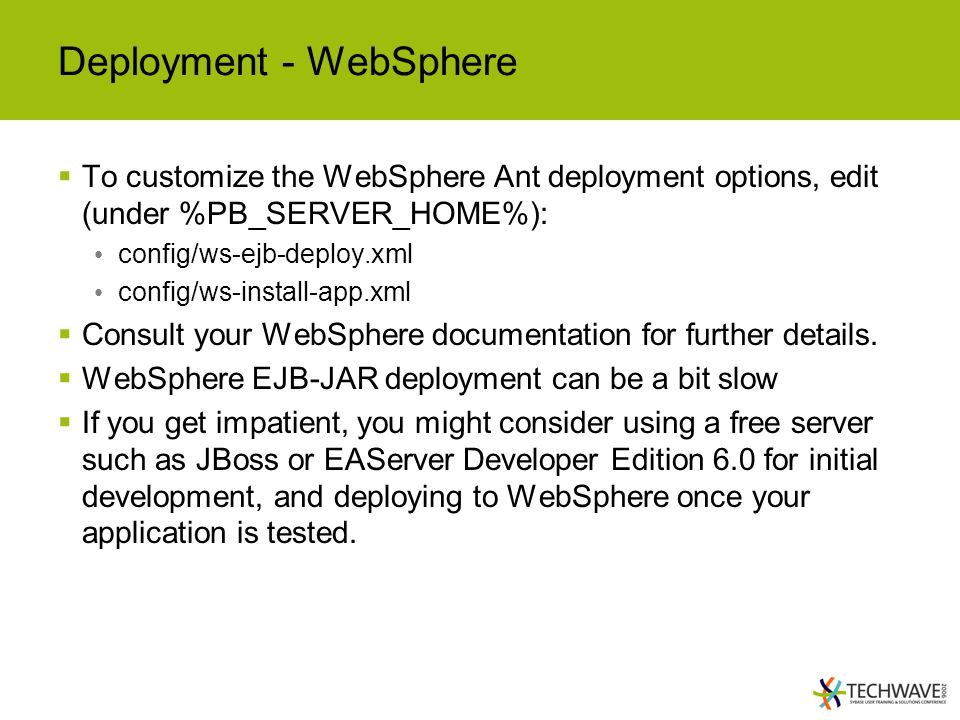 Deployment - WebSphere