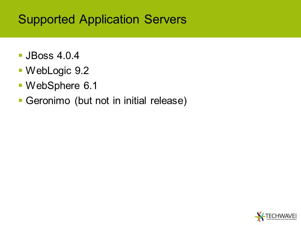 Supported Application Servers