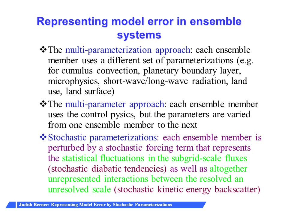 Representing model error in ensemble systems