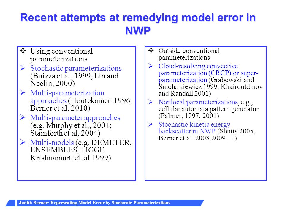 Recent attempts at remedying model error in NWP