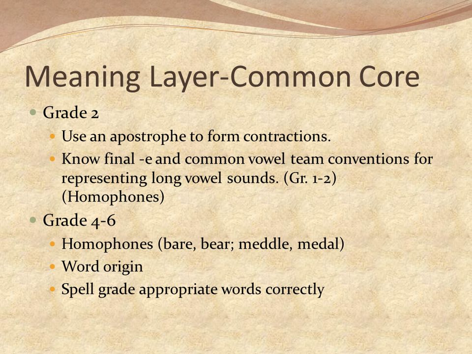 Meaning Layer-Common Core