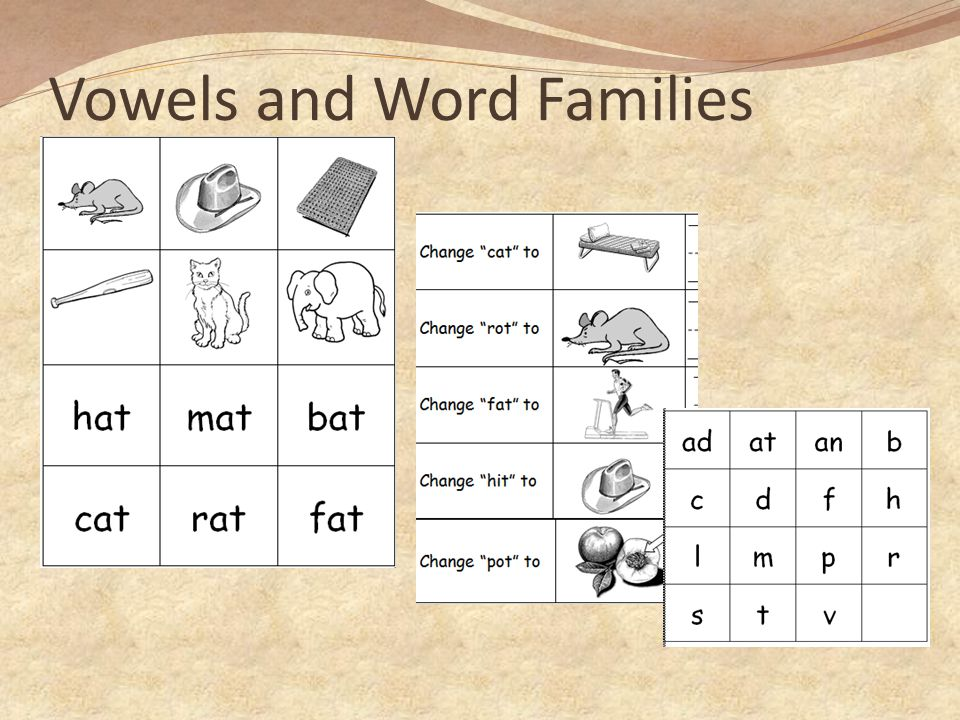 Vowels and Word Families