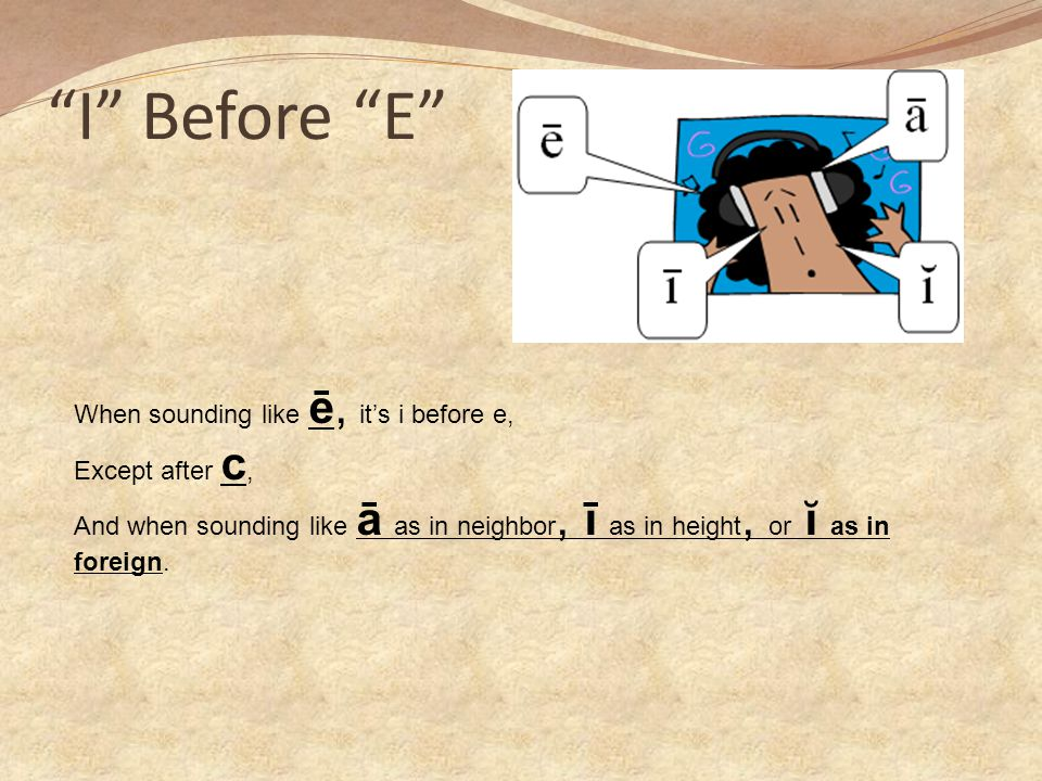 I Before E When sounding like ē, it's i before e, Except after c,