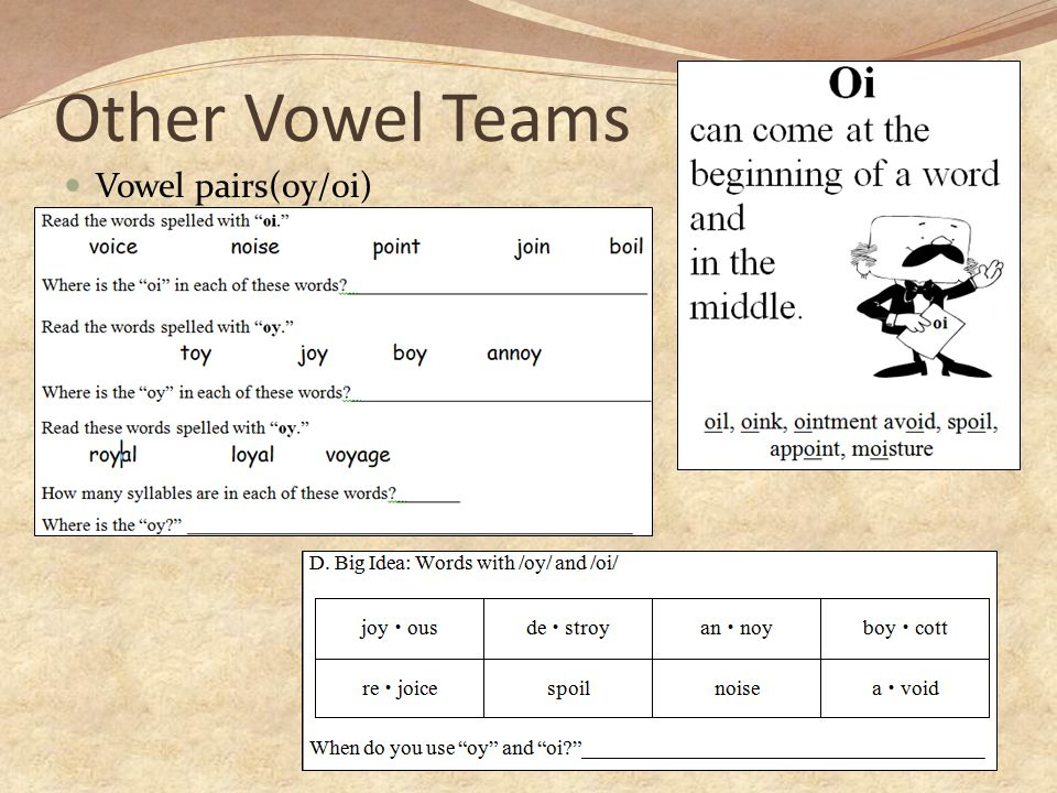 Other Vowel Teams Vowel pairs(oy/oi)