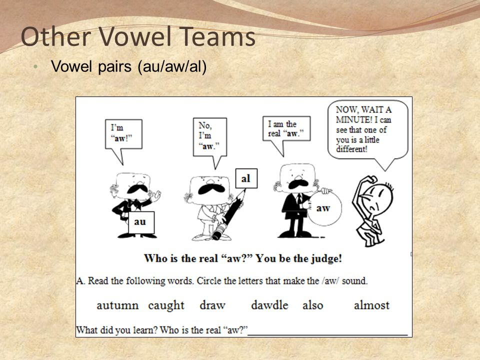 Other Vowel Teams Vowel pairs (au/aw/al)