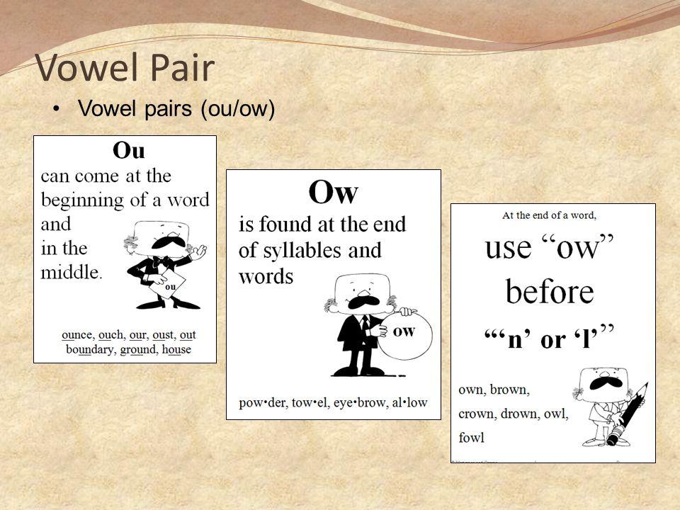 Vowel Pair Vowel pairs (ou/ow)