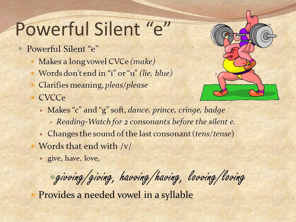 Powerful Silent e givving/giving, havving/having, lovving/loving