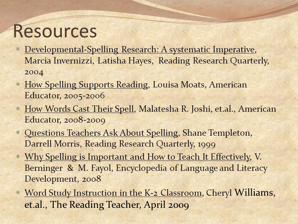 Resources Developmental-Spelling Research: A systematic Imperative, Marcia Invernizzi, Latisha Hayes, Reading Research Quarterly, 2004.
