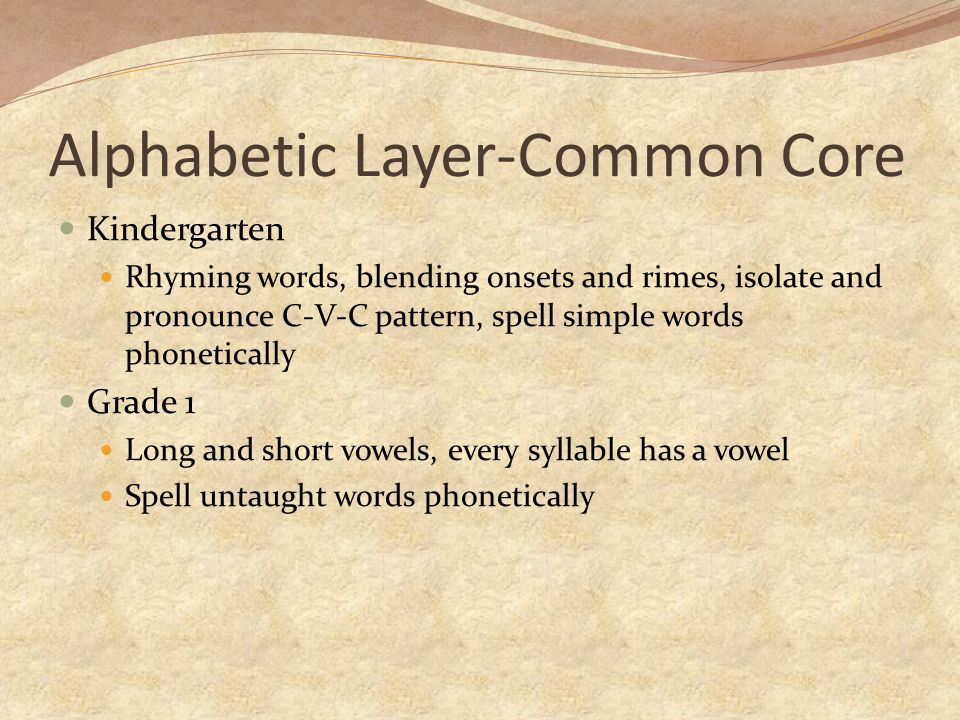 Alphabetic Layer-Common Core