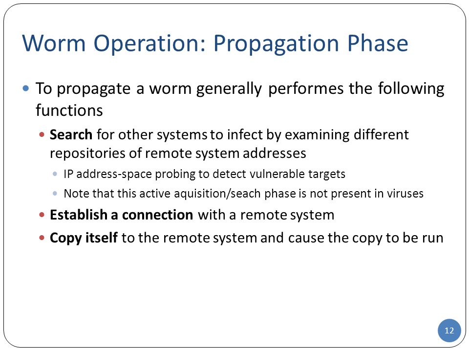 Worm Operation: Propagation Phase