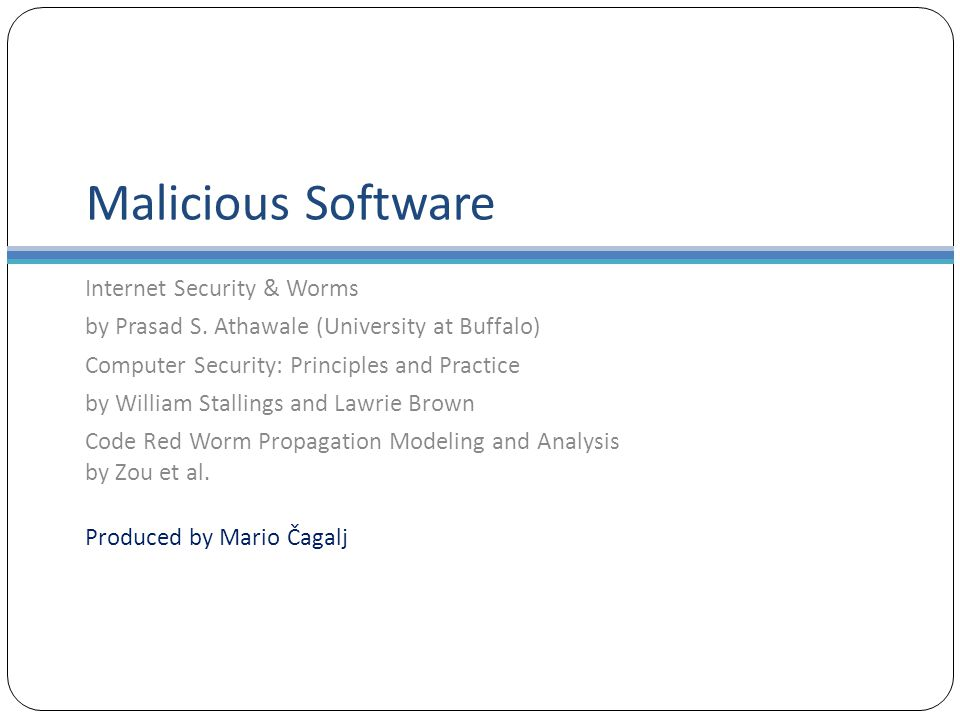 Malicious Software Internet Security & Worms