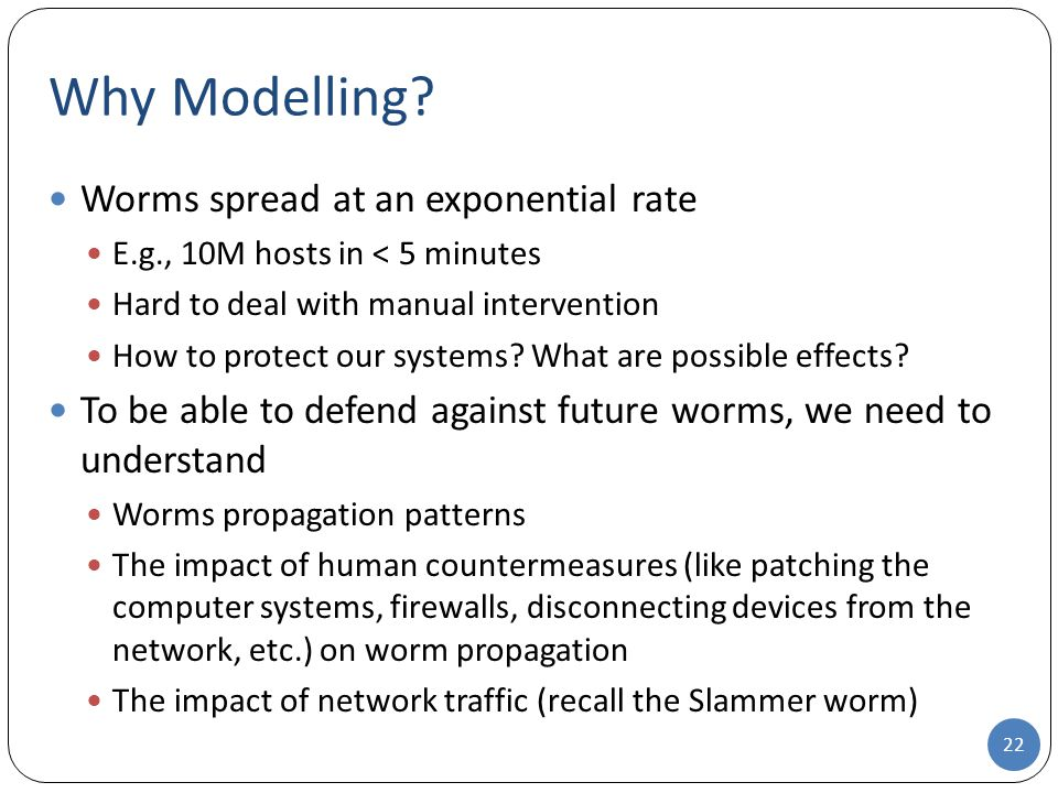 Why Modelling Worms spread at an exponential rate