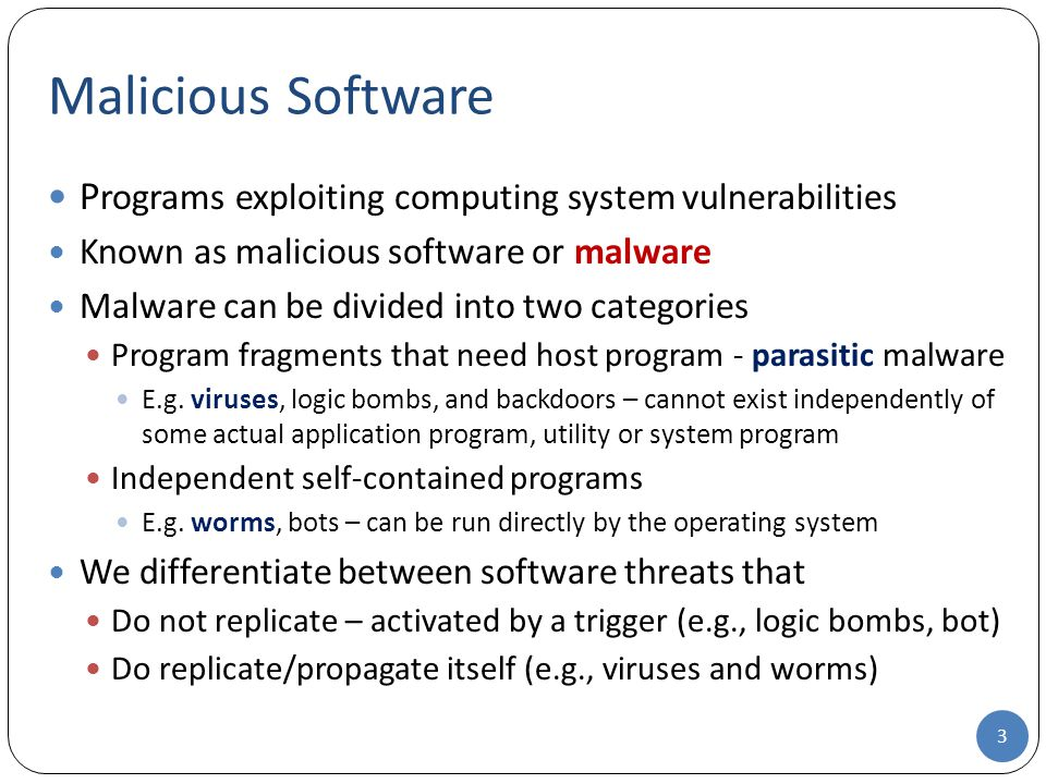 Malicious Software Programs exploiting computing system vulnerabilities. Known as malicious software or malware.