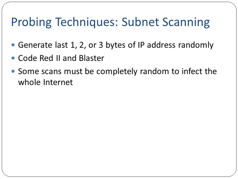 Probing Techniques: Subnet Scanning