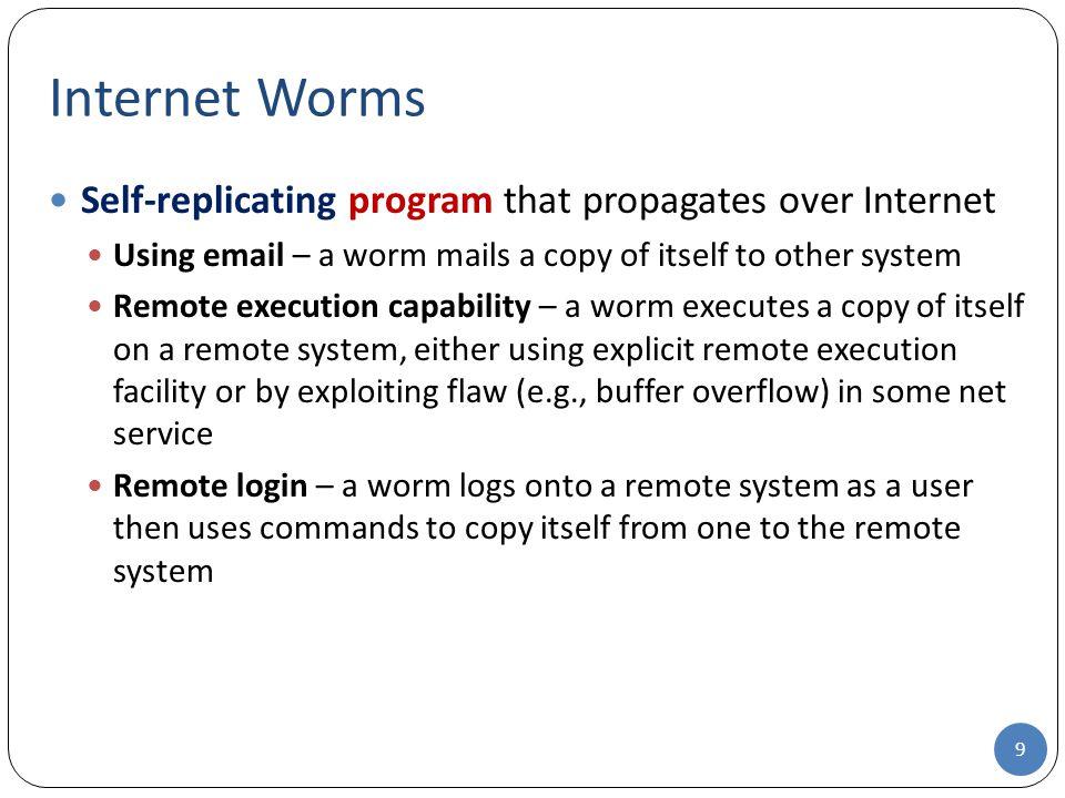 Internet Worms Self-replicating program that propagates over Internet