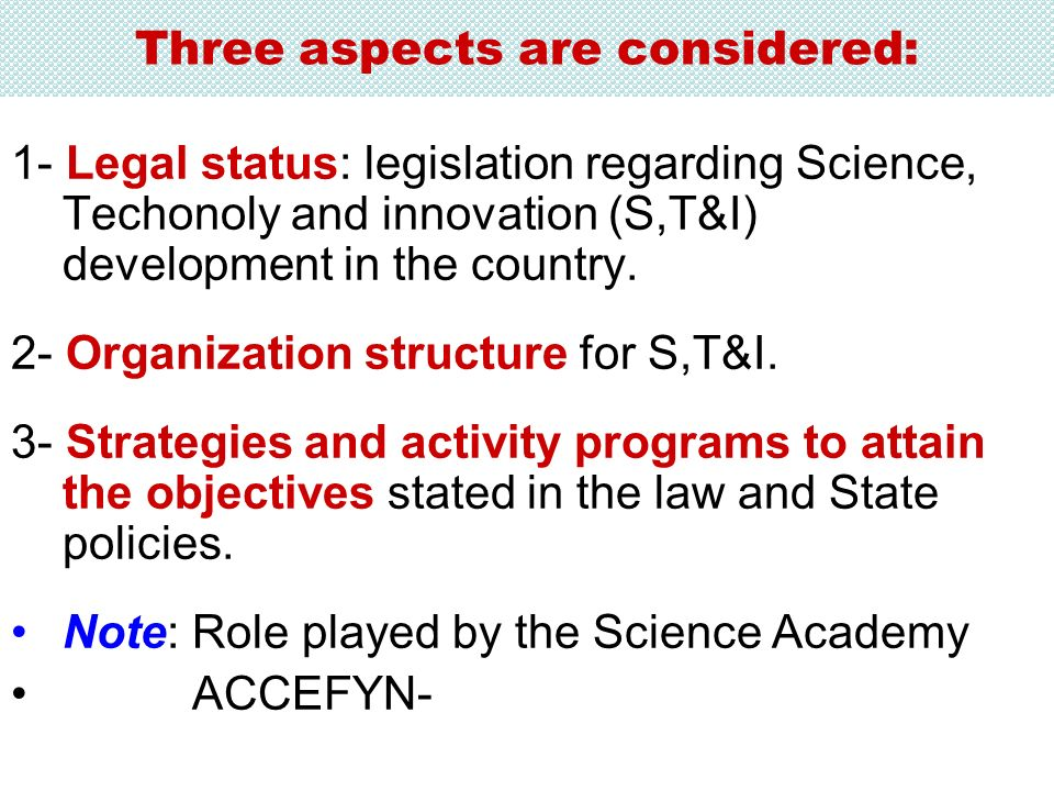 Three aspects are considered: