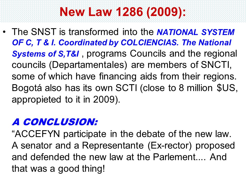 New Law 1286 (2009):