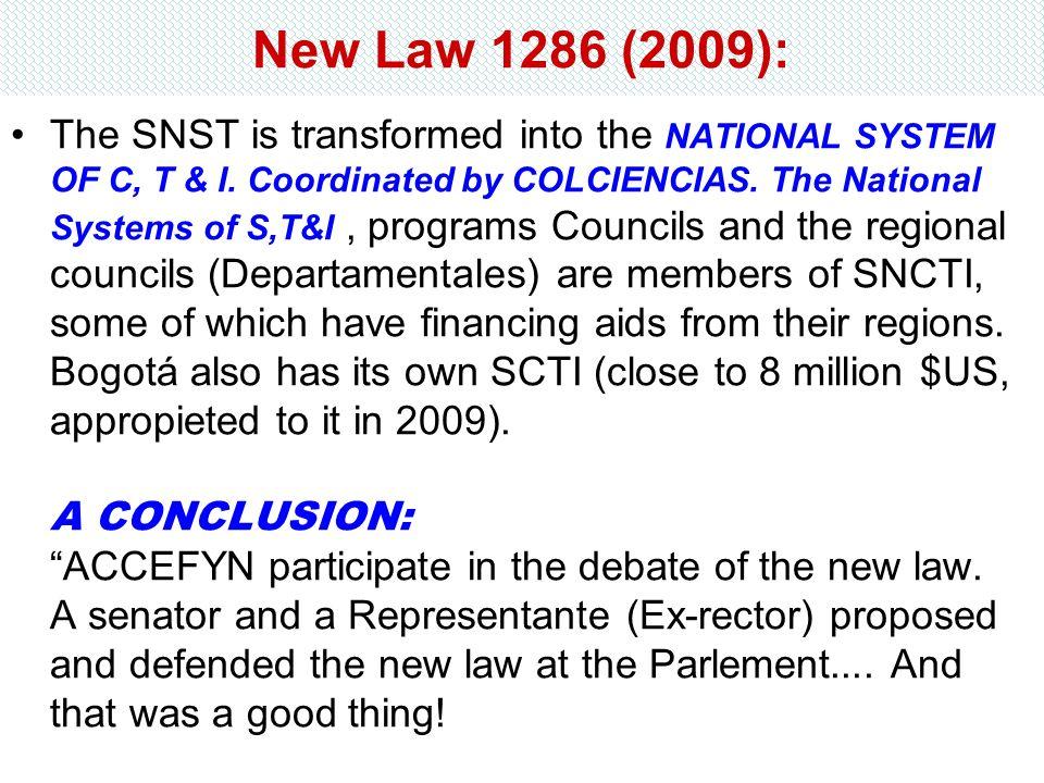 New Law 1286 (2009):