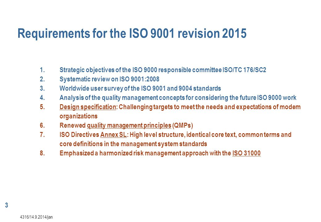 Requirements for the ISO 9001 revision 2015