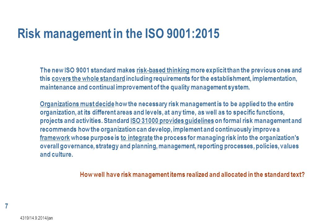 Risk management in the ISO 9001:2015