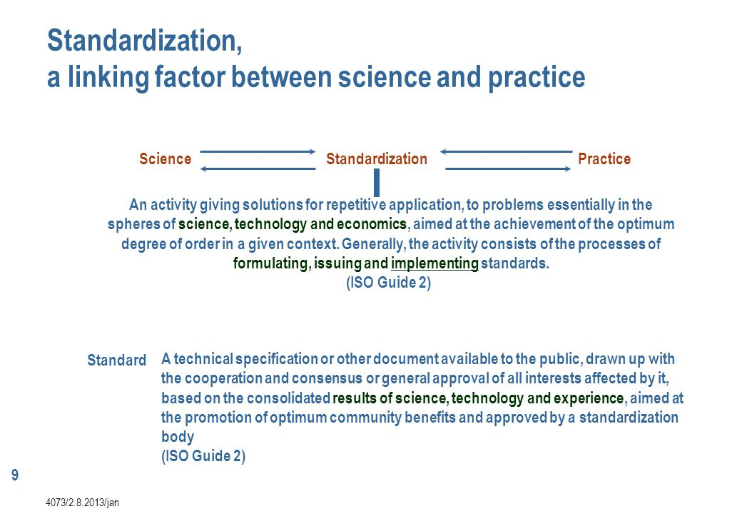 Standardization, a linking factor between science and practice