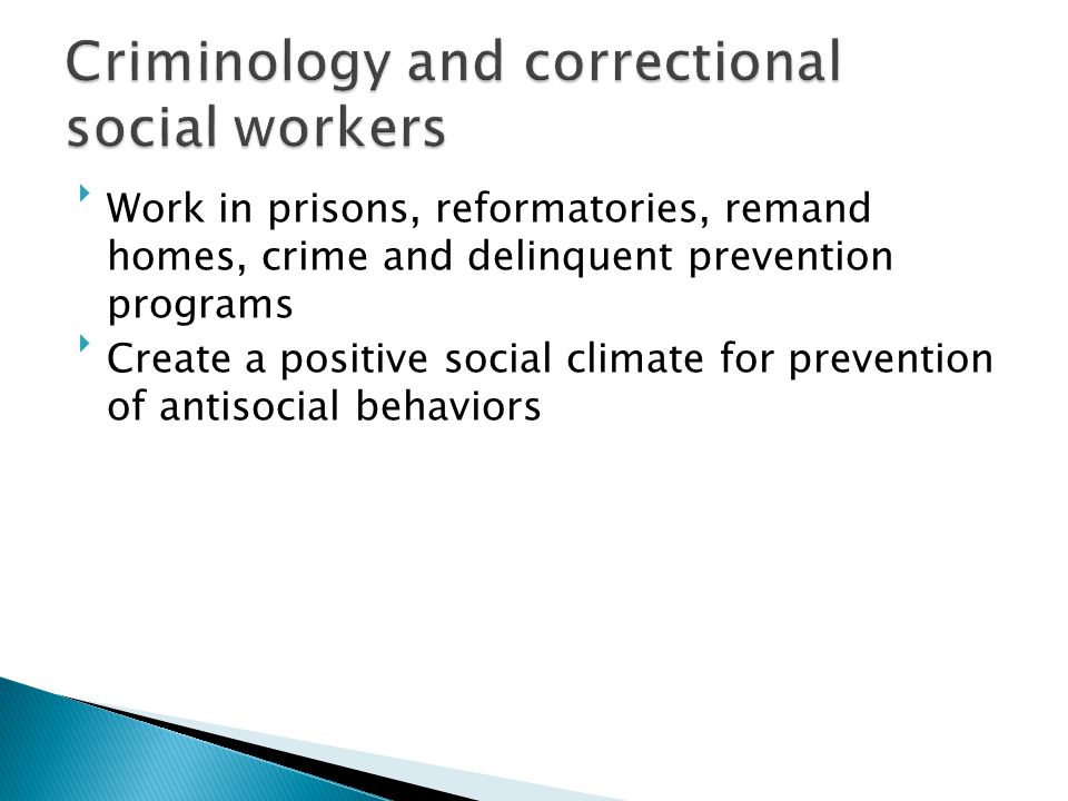 Criminology and correctional social workers