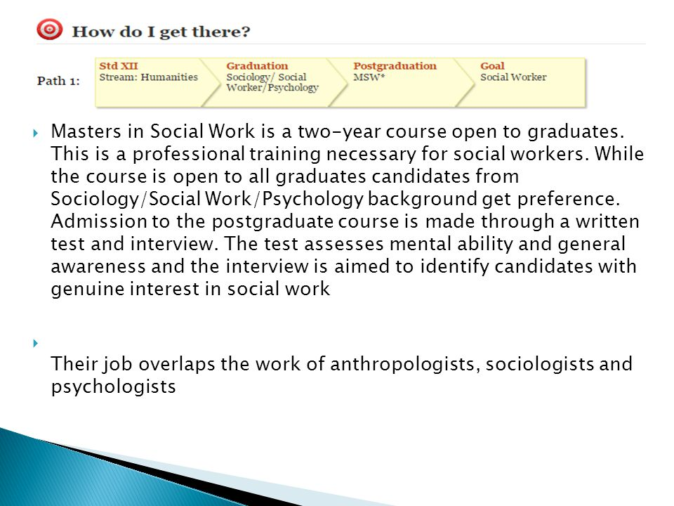 Masters in Social Work is a two-year course open to graduates