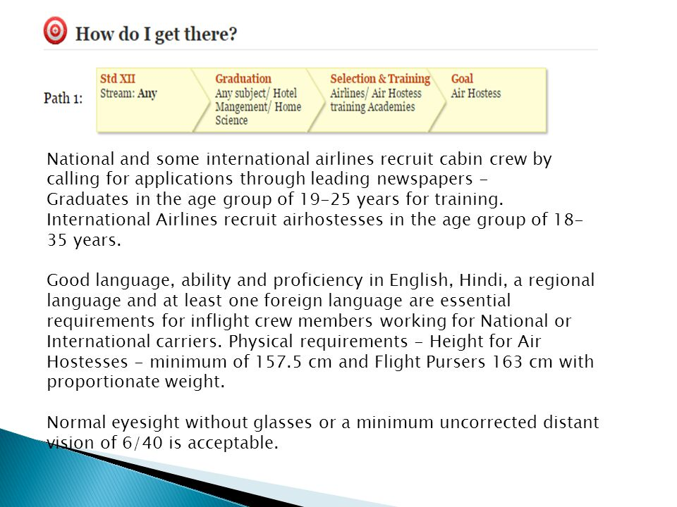 National and some international airlines recruit cabin crew by calling for applications through leading newspapers - Graduates in the age group of 19-25 years for training.