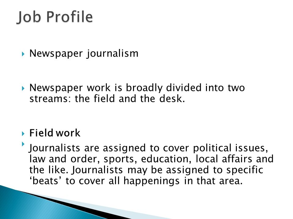 Job Profile Newspaper journalism