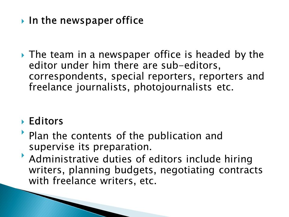 In the newspaper office