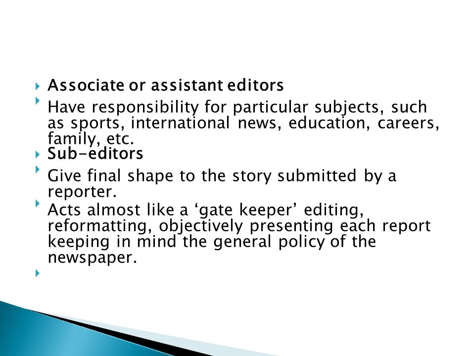 Associate or assistant editors