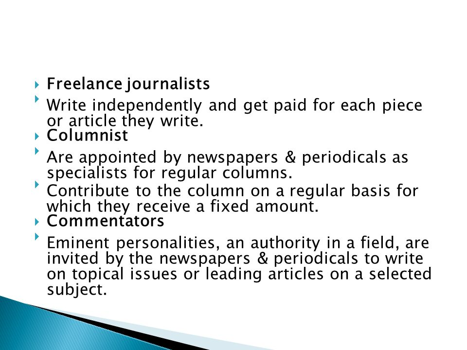 Freelance journalists
