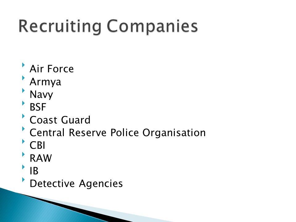 Recruiting Companies Air Force Armya Navy BSF Coast Guard