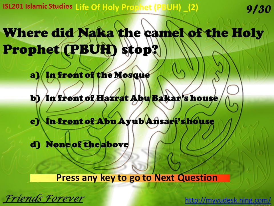 Where did Naka the camel of the Holy Prophet (PBUH) stop