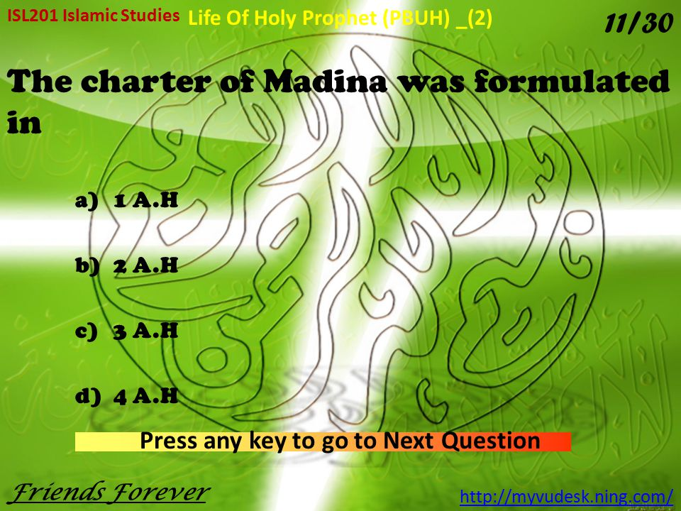 The charter of Madina was formulated in