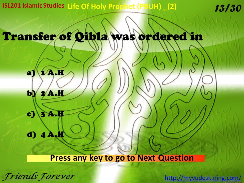 Transfer of Qibla was ordered in