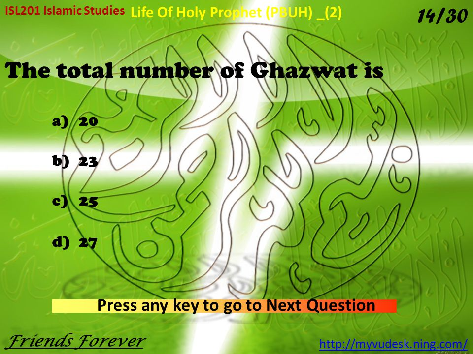 The total number of Ghazwat is