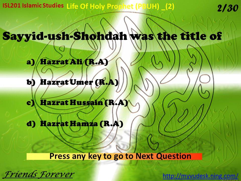 Sayyid-ush-Shohdah was the title of