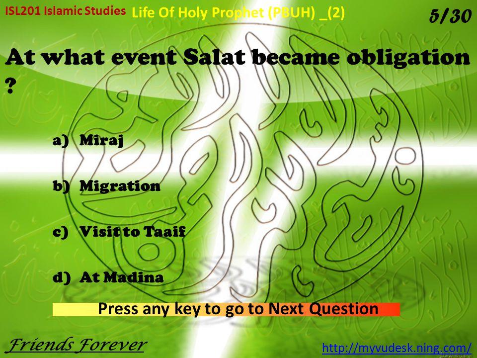 At what event Salat became obligation