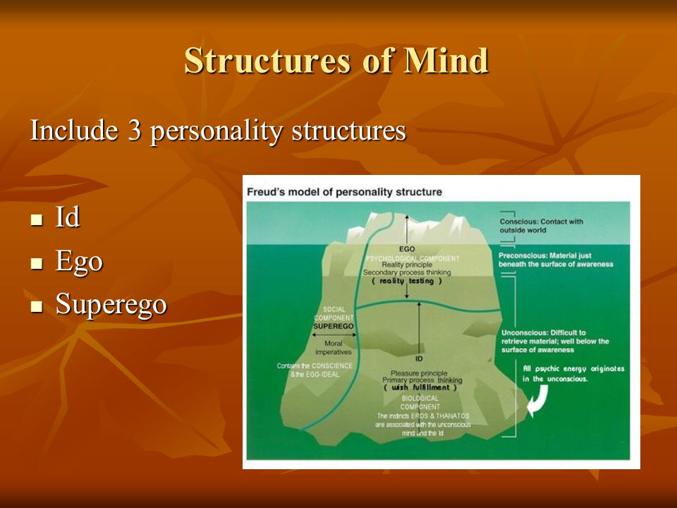 Structures of Mind Include 3 personality structures Id Ego Superego