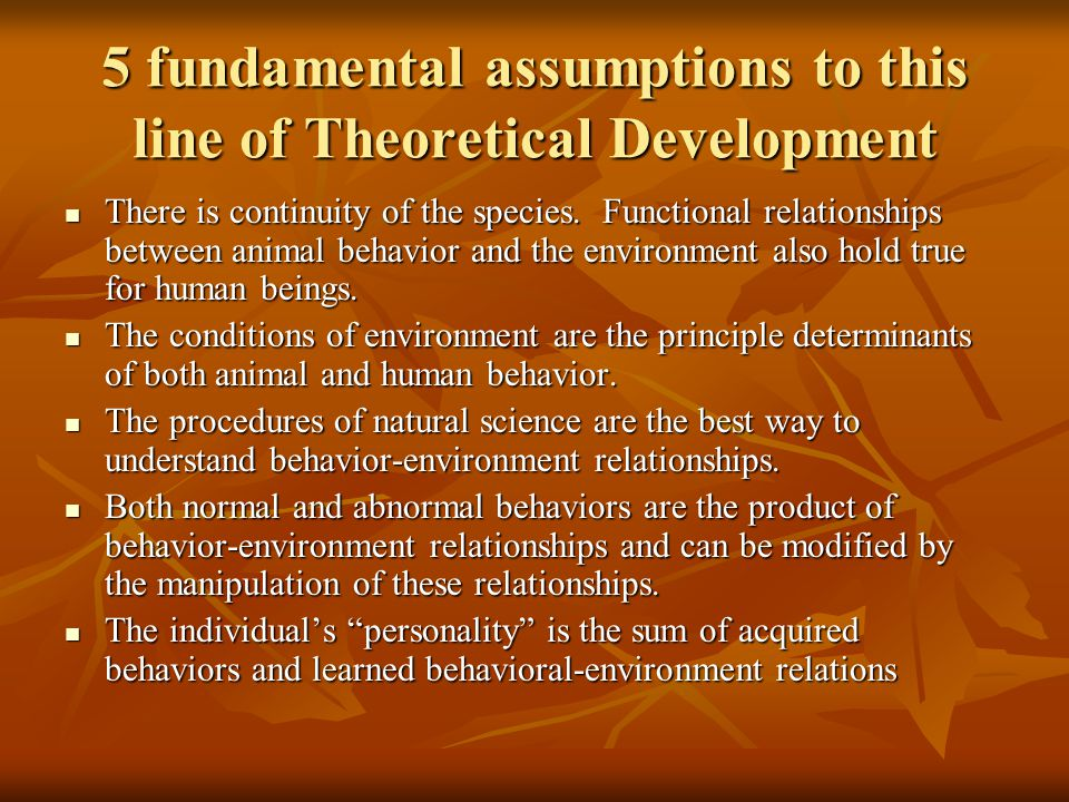 5 fundamental assumptions to this line of Theoretical Development
