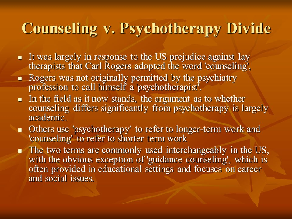 Counseling v. Psychotherapy Divide