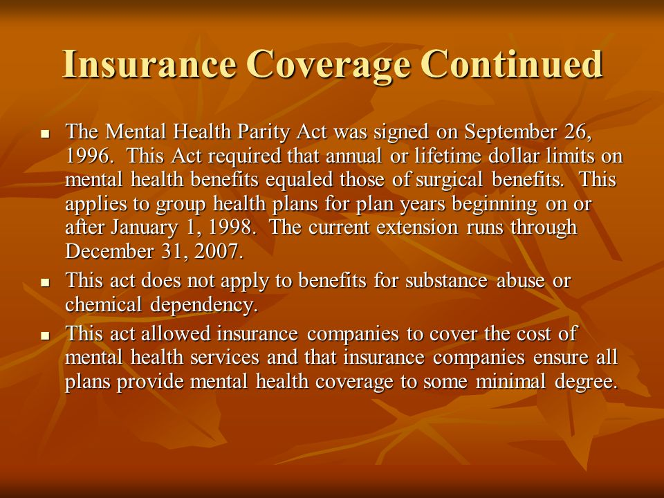 Insurance Coverage Continued