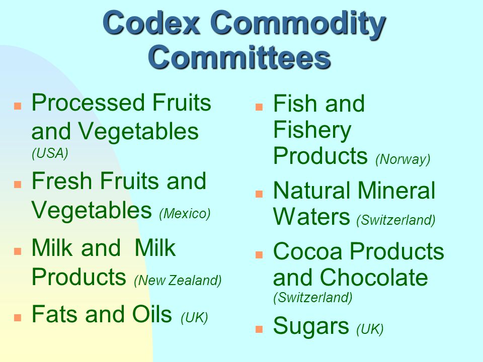 Codex Commodity Committees