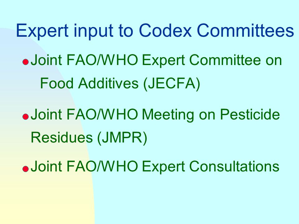 Expert input to Codex Committees