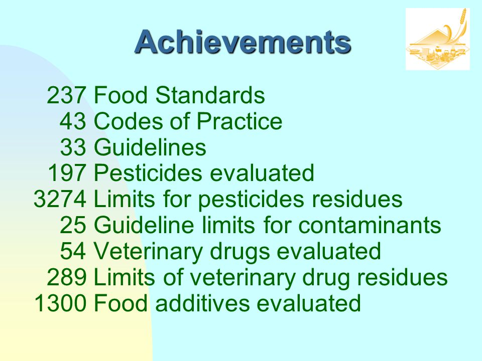 Achievements 237 Food Standards 43 Codes of Practice 33 Guidelines